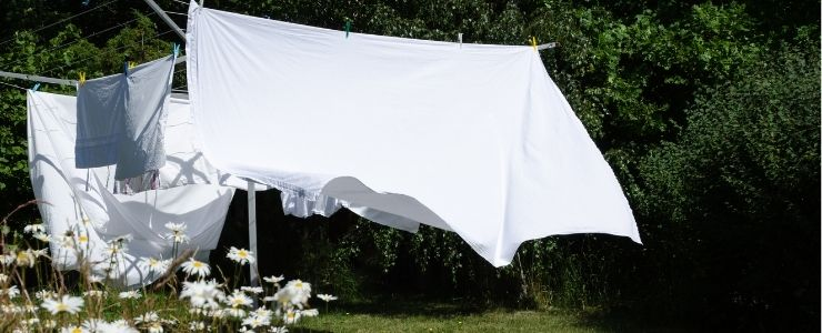 Washed Egyptian Cotton Bed Sheets Drying on the Line.
