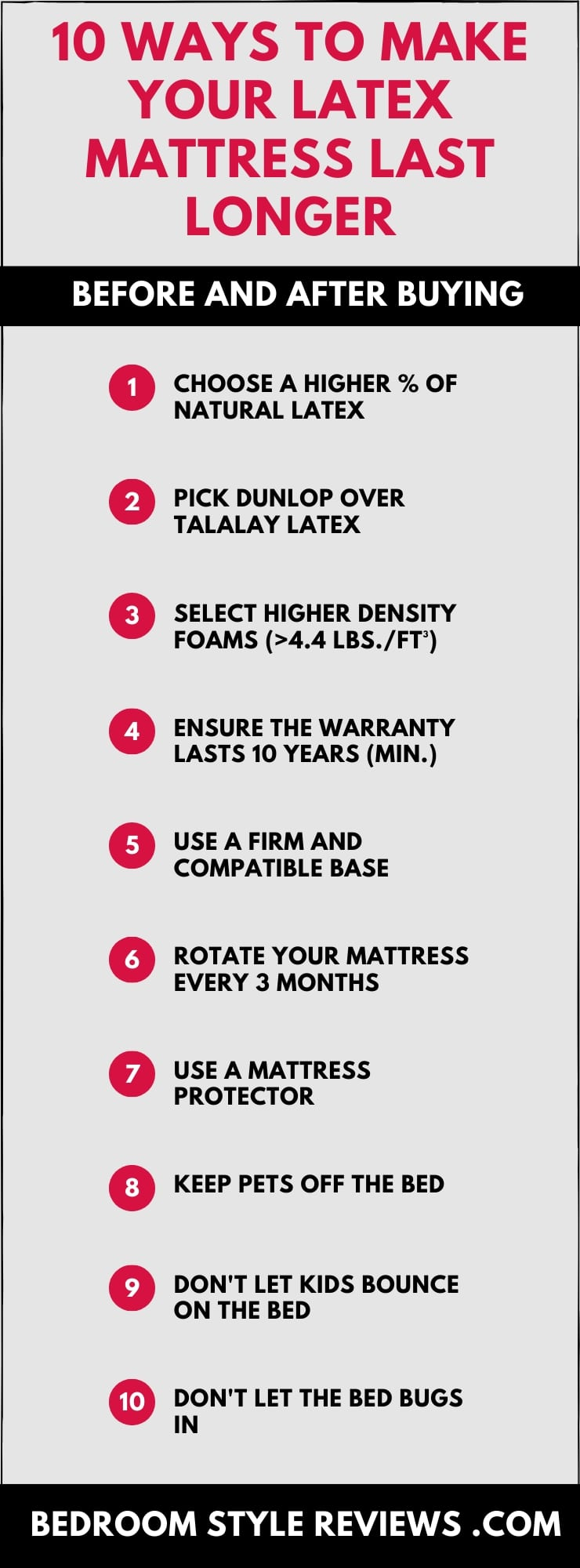10 Ways to Make Your Latex Mattress Last Longer - Custom Infographic