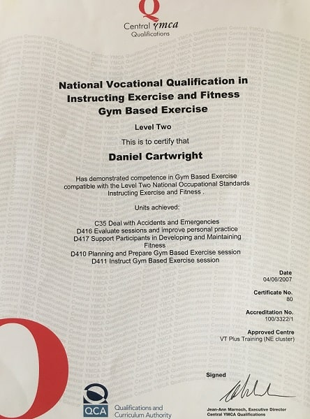 Dan Cartwright NVQ Level 2 Gym Instructor Qualification Proof