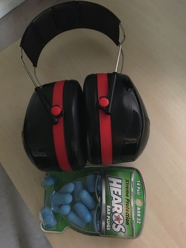 Hearos Xtreme Earplugs plus a set of 3M Ear Defenders for Blocking Out Misophonia Sounds