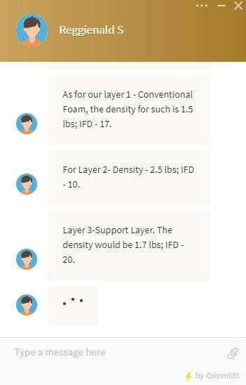 DreamCloud Foam Density Chat Transcript.