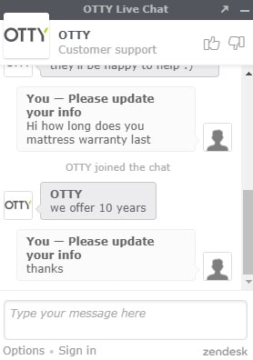 Otty mattress warranty length chat transcript proof