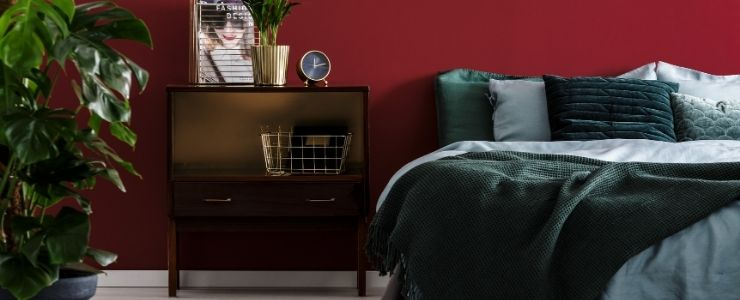 Diffused Red Dark Bedroom.