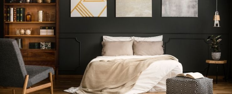 Light cherry wood bedroom decor ideas.