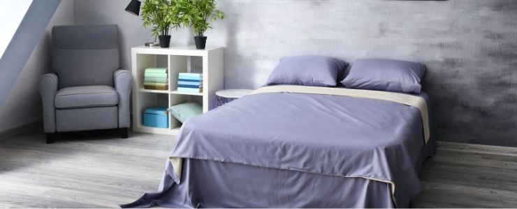 Purple Bedding With Gray Bedroom Decor.