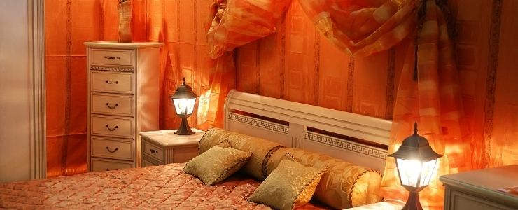 Small bedroom painted orange