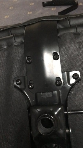 Attaching the back rest to the bottom of the B&M Fast Traxx Pro seat.