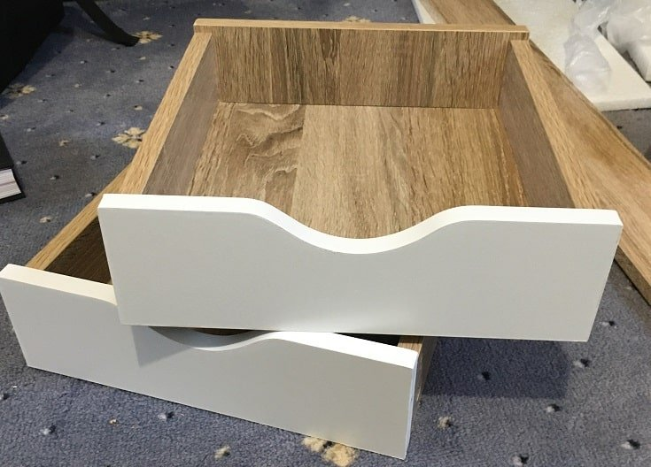Two assembled drawers for the B&M Michigan desk. (Custom image: Bedroom Style Reviews).
