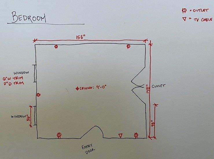 Detailed Bedroom Floor Plan.