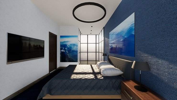 Bed Frame Coordinated With Bedroom Wall and Lamps