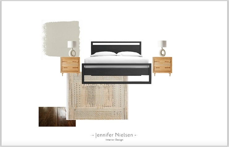 Bed Nightstand Lamp Rug Floor and Wall Concept