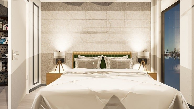 Bedside Lamp and Overhead Bedroom Light Arrangement