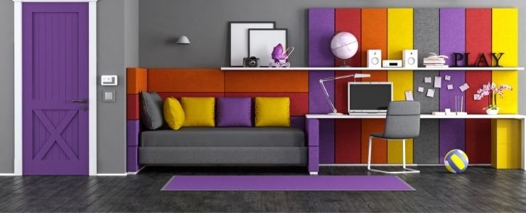 A Bold Purple Bedroom Door