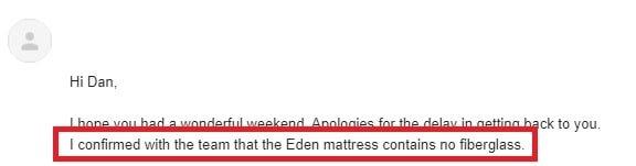 Email Screenshot that Proves Eden Mattress Does NOT Contain Fiberglass