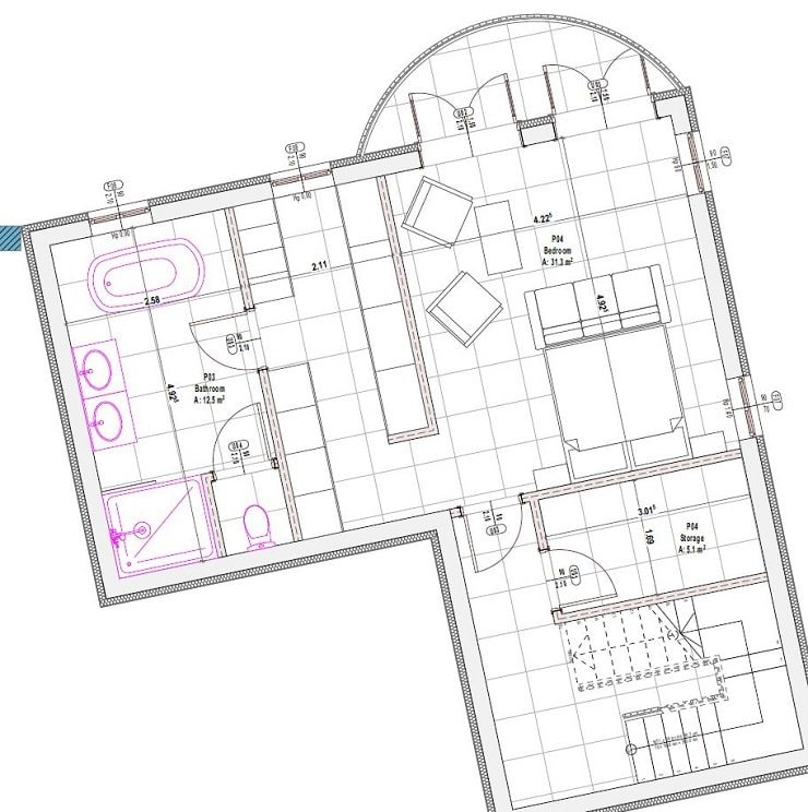 Floor Plan of a Master Bedroom With Ensuite and Open Dressing Area and Complete Bathroom.