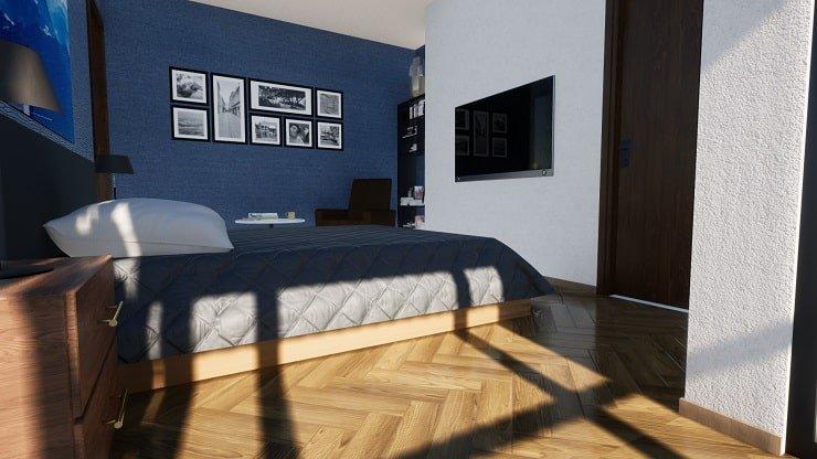 Herringbone Flooring in Master Bedroom