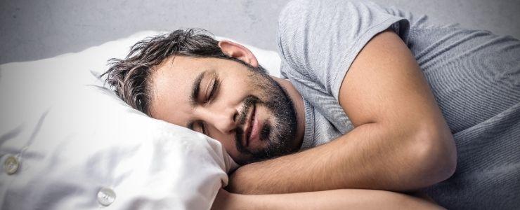 Man Sleeping Comfortably After Hernia Surgery.