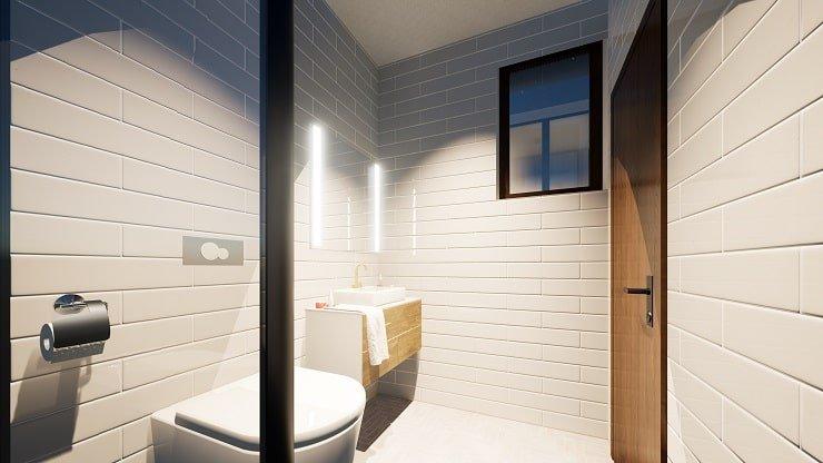 Overhead and Vanity Lighting in Ensuite Bathroom