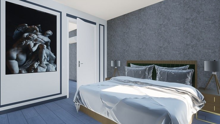 Textured Gray Bedroom Accent Wall.