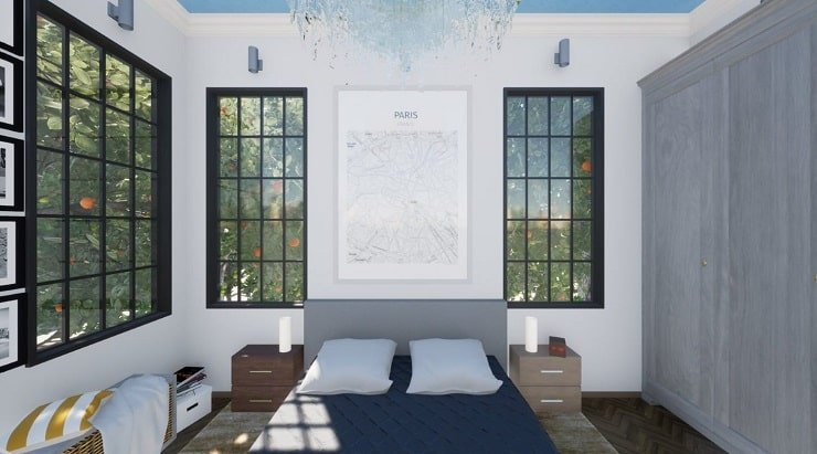 Artwork to Frame a Bed in a High Ceiling Bedroom