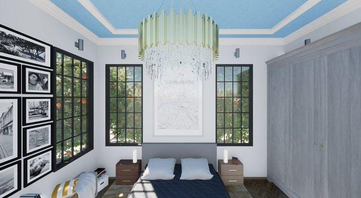 Chandelier in a High Ceiling Bedroom