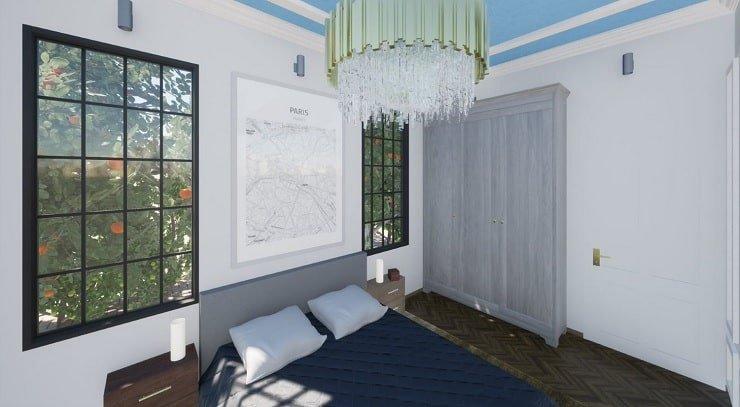Wall Art Aligned With Window in Bedroom