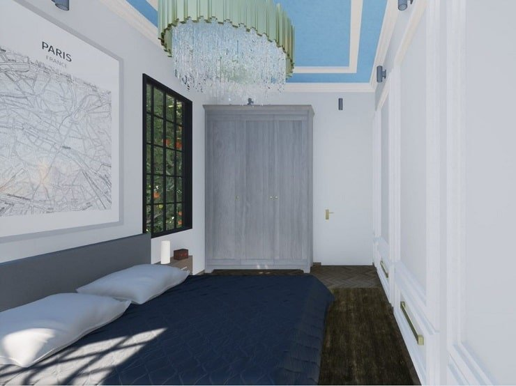 Wardrobe in Bedroom With High Ceiling