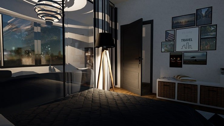 Lighting in Converted Living Room and Bedroom