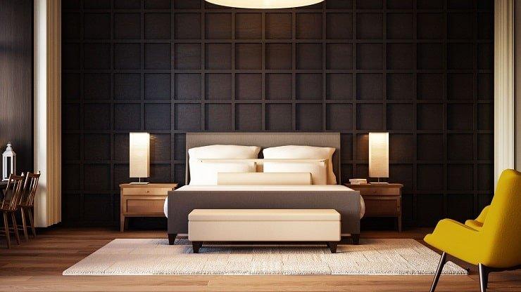 Dark Panel Molding Bedroom Design