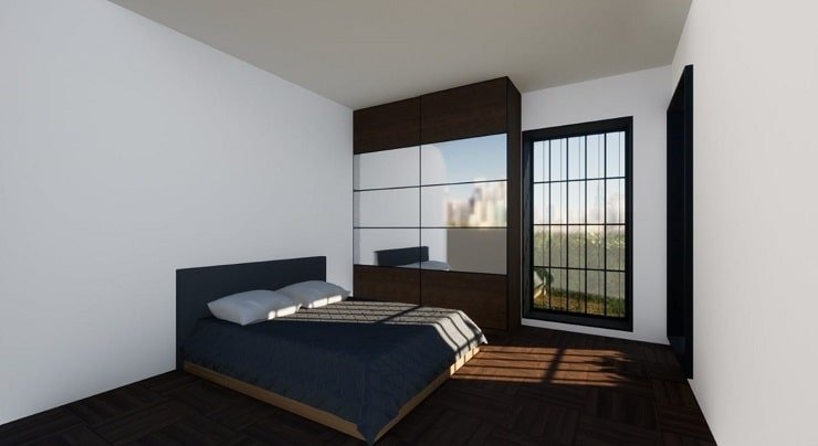 Bed and Wardrobe for Airbnb Bedroom