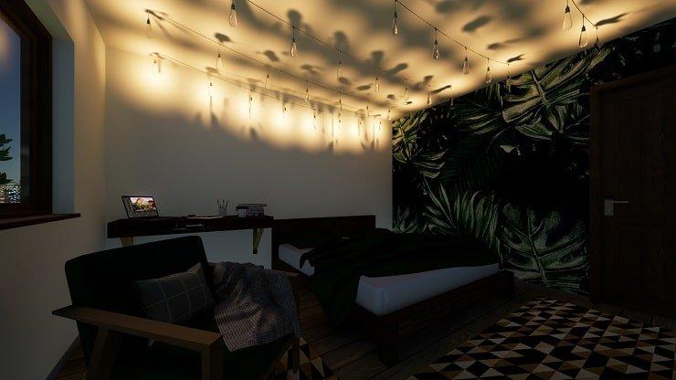 Hanging Ceiling Lights in Indie Bedroom