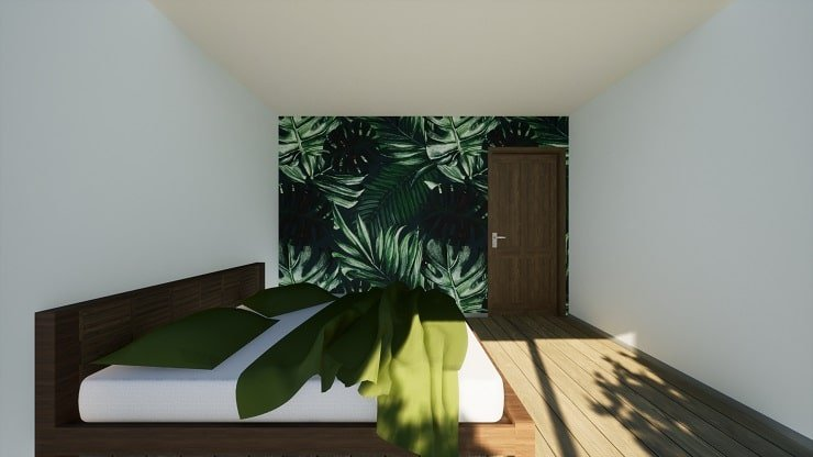 Indie Style Bedroom With Bed and Wallpaper
