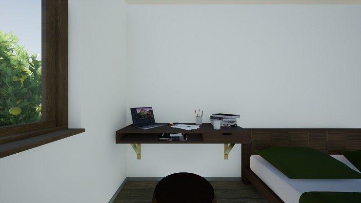Wall Mounted Desk in Indie Bedroom