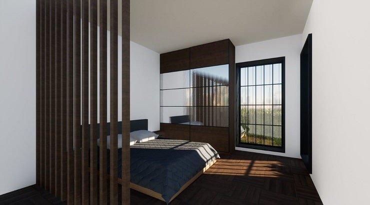 Wooden Divider for Airbnb Bedroom