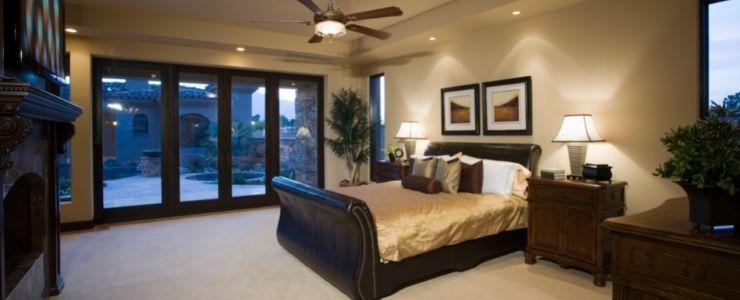 Bedroom With Dark Wood Furniture.
