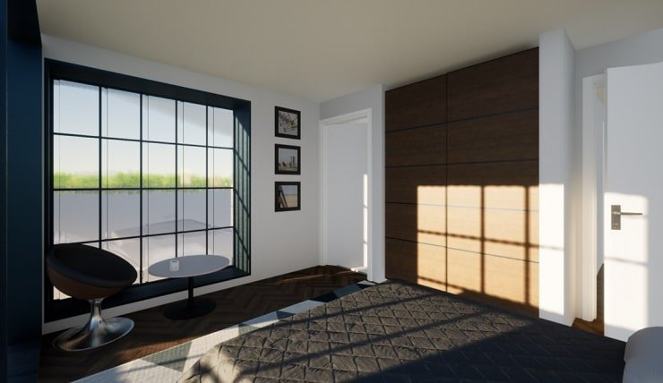 Bedroom With Seating and Storage