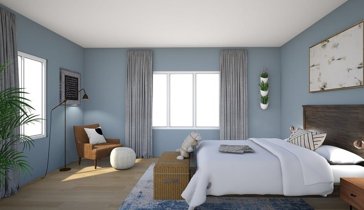 Smokey Blue Bedroom Color.