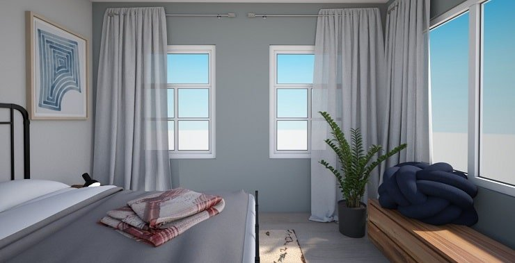 Bedroom With Floor to Ceiling Curtains