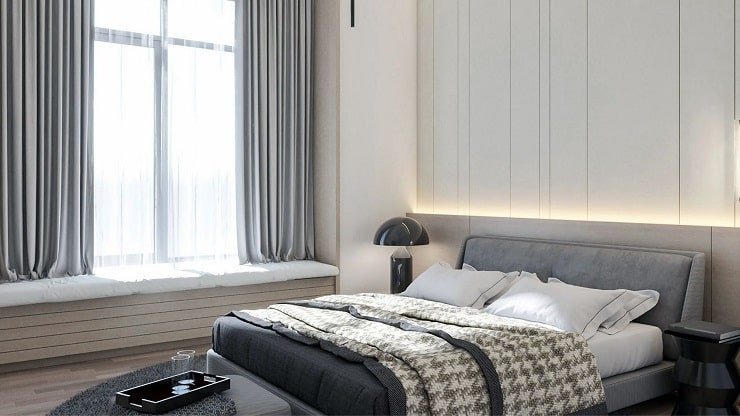 Contemporary Small Bedroom With Integrated Lighting and Seating