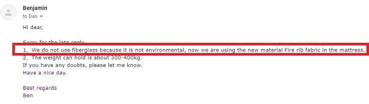 Proof that Avenco Hybrid Mattress Doesn't Contain Fiberglass.