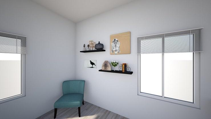Shelves Opposite Bed