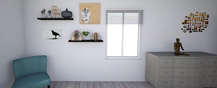 Shelves on Bedroom Wall