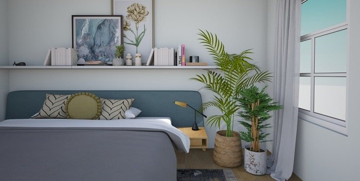 Small Bedroom Design With Wall Length Shelving