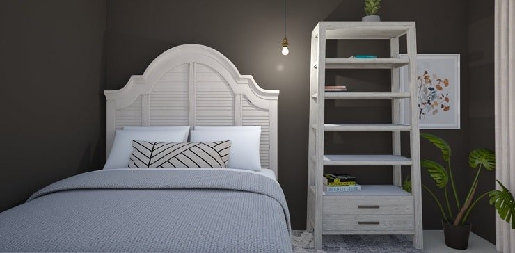 Small Bedroom With Charcoal Walls