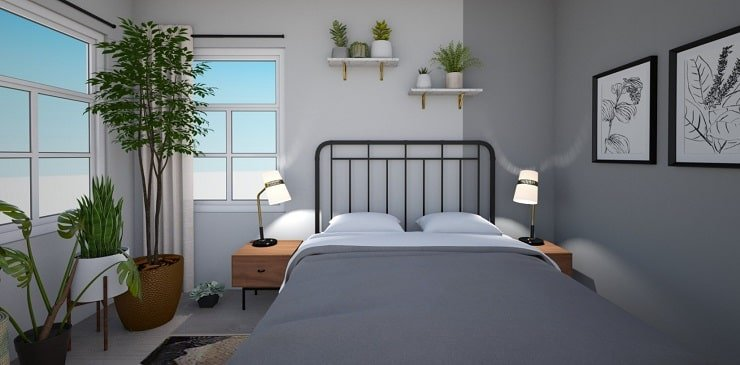 Small Bedroom With Color Blocks and Plants