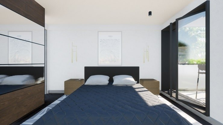 Small Bedroom With Hanging Lights and Spotlights