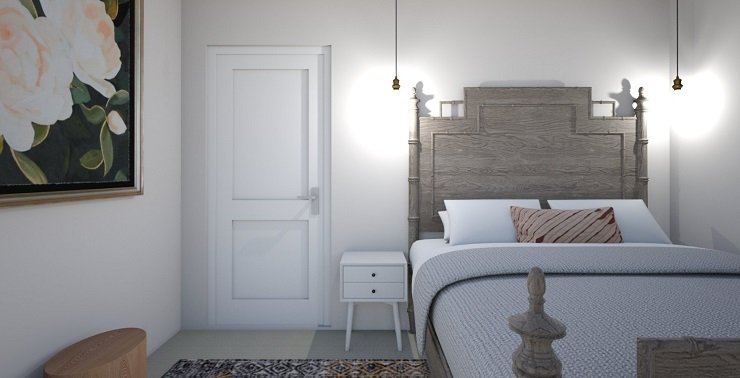 Small Bedroom With Pendant Lights