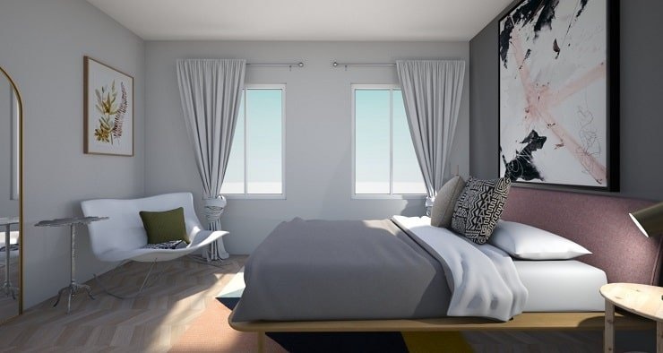 Small Bedroom With Sleek Furniture