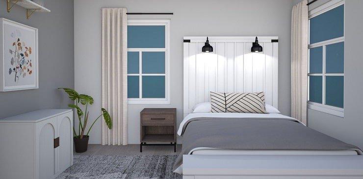 Small Bedroom With Tall Headboard