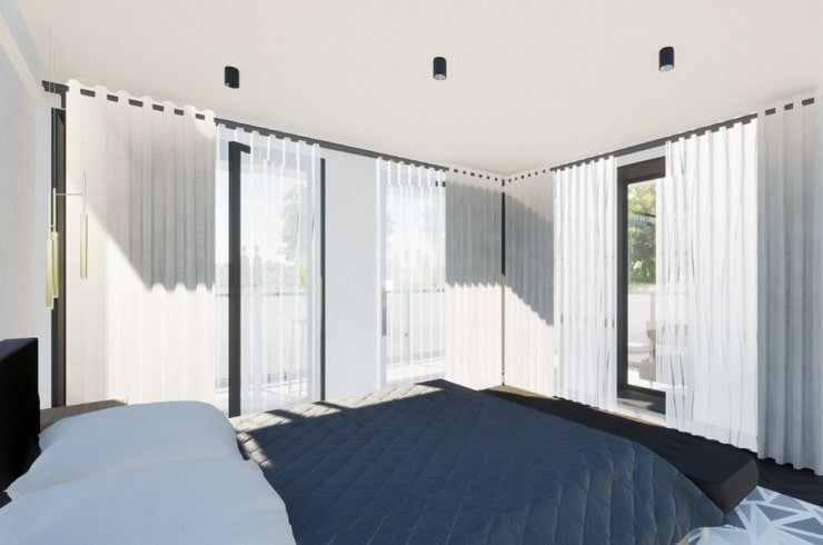 Small Bedroom With Translucent Curtains and Off-White Drapes
